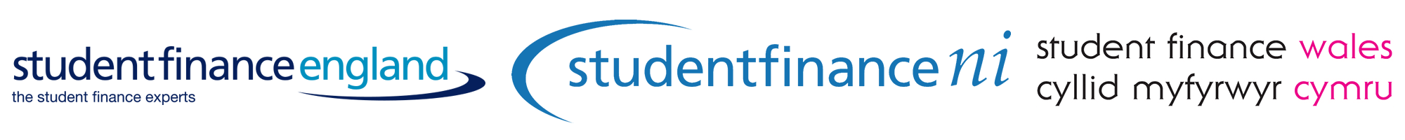 brand logos for Student Finance England, Student Finance Northern Ireland and Student Finance Wales